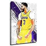 YHML Los Ángeles Lakers campeón Anthony Davis cartel pop art pintura impresión 3D 2020 sala de estar mural MVP LeBron James corona arte atleta post08x12inch_enmarcado