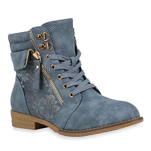 stiefelparadies Damen Stiefeletten Schnürstiefeletten Leder-Optik Schuhe Spitzenstoff Boots Zipper Schnürboots 130899 Blau Spitze 37 Flandell