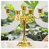 Candelabro retro europeo, accesorios de la cena de la luz de las velas de la aleación, ornamentos románticos (Color : Oro)