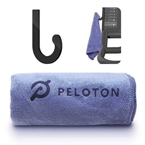 Towel Rack Hanger Hook + Microfiber Sport Towel Set for Peloton Bike (Grey)