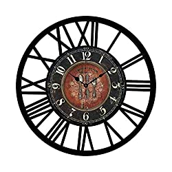 EnjoyHome French Country Metal Wall Clock Decorative Iron Non-Ticking Silent Wall Clock with Roman Numeral for Office Pub
