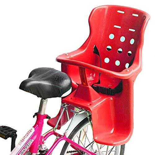 WYJW Asiento Trasero de Bicicleta para niños/portabicicletas Asiento de bebé, Valla y Pedal de plástico ecológicos para bebés de 1 a 6 años, Rojo
