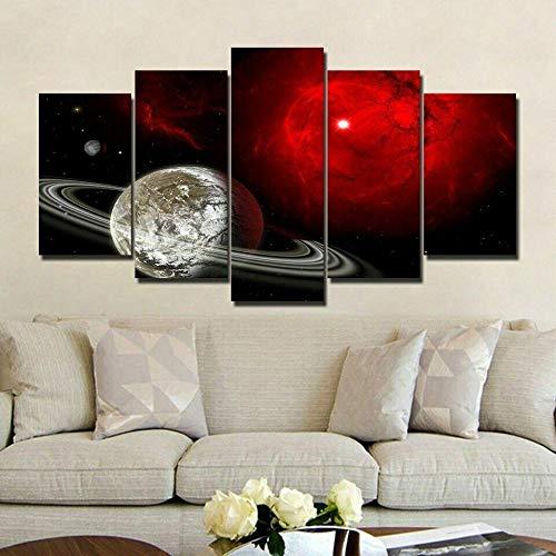 BDFDF 5 Piezas Cuadro En Lienzo 5 Lienzos Impresión Cuadros Espacio Universo Luna Planeta 5 Murales Decorativos Pared XXL Decoracion para Salón Dormitorio Pared Listo para Colgar Marco 150X80Cm