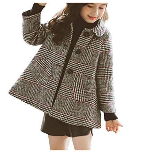 NUSGEAR Baby Mädchen Mäntel Winter Warm Kleidung Daunenmantel Kind Gitter Einreiher Wollmantel,Kinder Jacken Dicke Coat Wolljacke Fleece