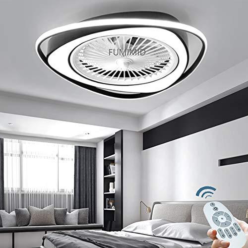 Moderne Schwarz LED Dimmbar Deckenleuchte Deckenventilatoren Mit Beleuchtung Leise Ventilator Deckenlampe Einstellbare 3 Windgeschwindigkeit Mit Fernbedienung Schlafzimmer Wohnzimmer Esszimmer Büro,B