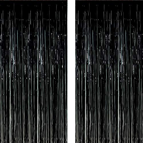 Twinkle Star 2 Pack Photo Booth Backdrop Foil Curtain Tinsel Backdrop Environmental Background for Halloween Party, Birthday, Wedding, Graduation, Christmas Decorations (Black)