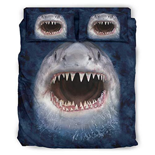 MiKiBi-77 Conjuntos de ropa de cama Sonriente Cara de tiburón 4 piezas Confort - 4 piezas camas king Sets blanco 240x264cm