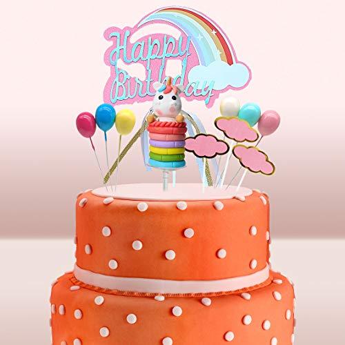 Gwolf Decoracion Tarta Unicornio, Decoración de Pasteles Unicornio, Decoración de la Torta de cumpleaños de Toppers de la Torta Feliz cumpleaños Globos del Arco Iris Nubes cumpleaños de la Torta