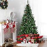 Costway Sapin de Noël Artificiel Blanc Enneigé 210CM Arbre de Noël avec Pied en Plastique Matériau PVC pour Décoration de Noël Vert