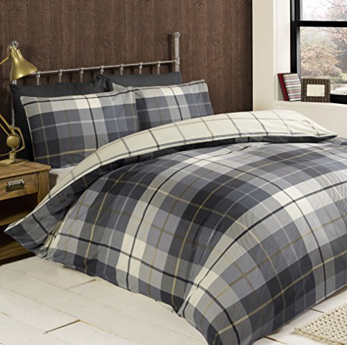 Rapport Lomond Check 100 Percent Brushed Cotton Duvet Set, Blue, Super-King