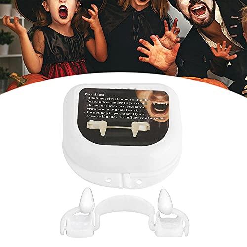 YTATY Colmillos retráctiles de vampiro, colmillos de vampiro retráctiles, de silicona de plástico retráctil para Halloween, dientes de colmillos de vampiro para adultos y niños (1 unidad)