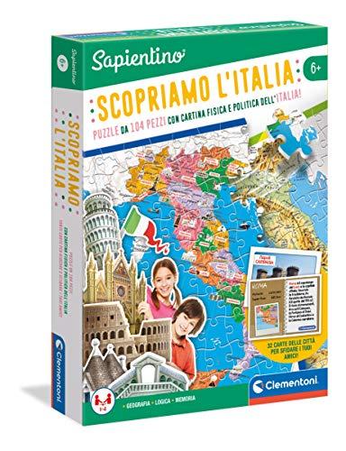 Clementoni - 12026 - Sapientino - Découvrez L'Italie, Puzzle Carte Physique et Politique Italie - Jeu éducatif 6 Ans, Jeu de géographie - Fabriqué en Italie
