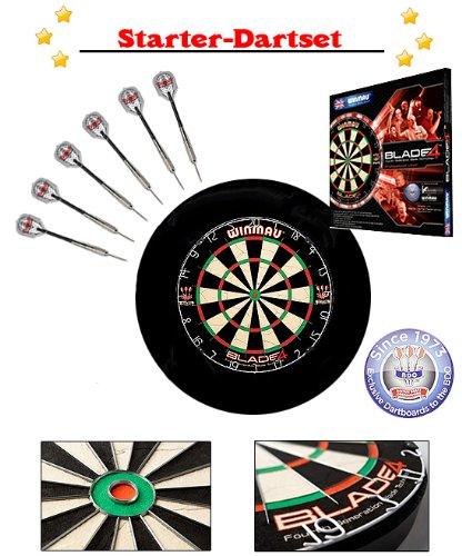 WINMAU Darts Starter-Set inkl. Blade 5, schwarzem Surround, Darts, Markerboard, Abwurflinie