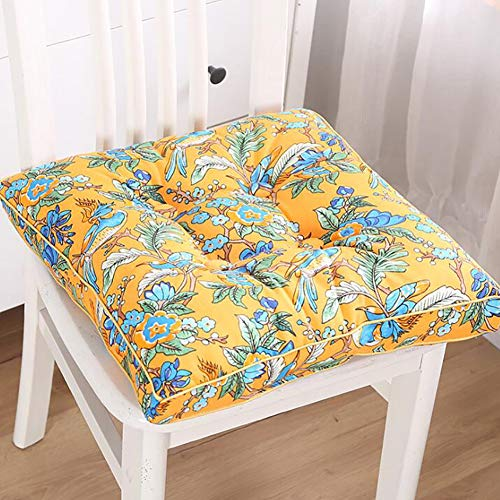 FCSFSF Square Bohemian Floor Cushion,Thick Cotton Linen Seat Cushion For Adults Kids,Floral Print Meditation Pillow For Living Room P 45x45cm(18x18inch)
