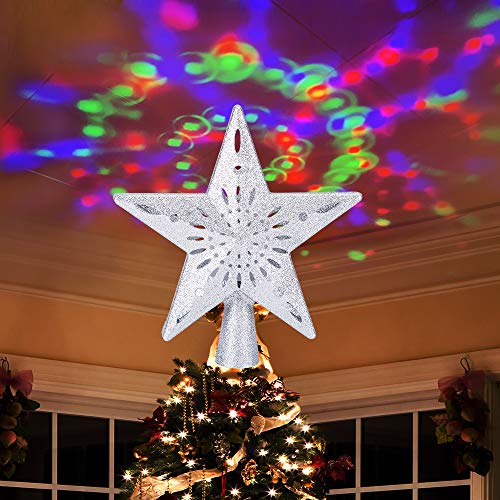 Ywlake Christmas Tree Topper Lights, LED Light Up Lighted Star Christmas Top Topper Projecter with Projection for Indoor Outdoor Christma Tree Decor Decorations (Plastic, Silver)