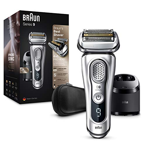 Braun Series 9 Electric Shaver With Clean & Charge Station & Leather Case, Flawless Shave, 100% Waterproof, Gifts for Men, 2 Pin Bathroom Plug, 9390cc, Silver Razor