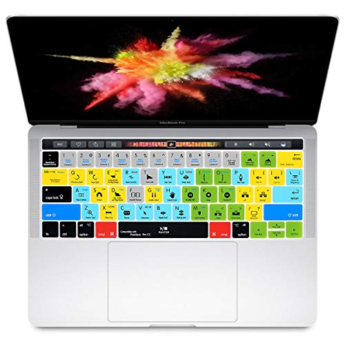 HRH Premiere Pro CC Shortcuts Hotkey Silicone Keyboard Cover Skin for MacBook New Pro with Touch Bar 13 Inch and 15 Inch(A2159/A1989/A1706,A1990/A1707) 2019 2018 2016 2017 Release with US Version