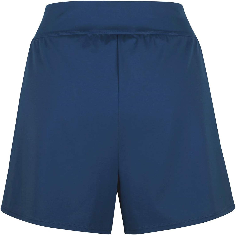 JINXUEER Womens Plus Size Solid Board Shorts Bikini Tankini Swimsuit Bottom Mid Waisted Swimwear with Briefs and Pocket