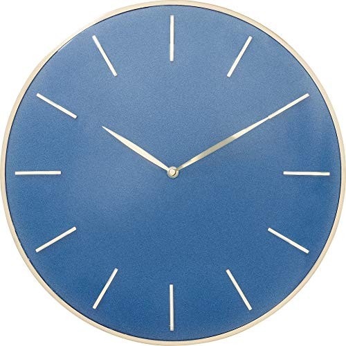Kare Design Wanduhr Malibu Blau Ø40cm, Blaue Wanduhr mit goldenem Ziffernblatt, dekorative Uhr für Wohn- und Esszimmer, (H/B/T) 40,6x40,6x5,1cm