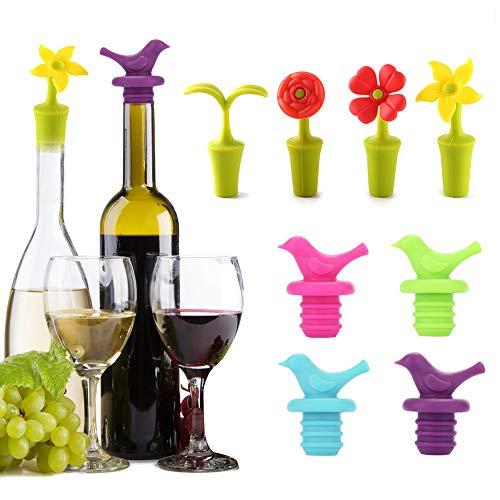 MHwan tappi per bottiglie di vino sottovuoto, tappo per vino in silicone, Tappo di bottiglia riutilizzabile a tema fiori e uccelli Tappi novità champagne per feste natalizie al bar, 8 pezzi