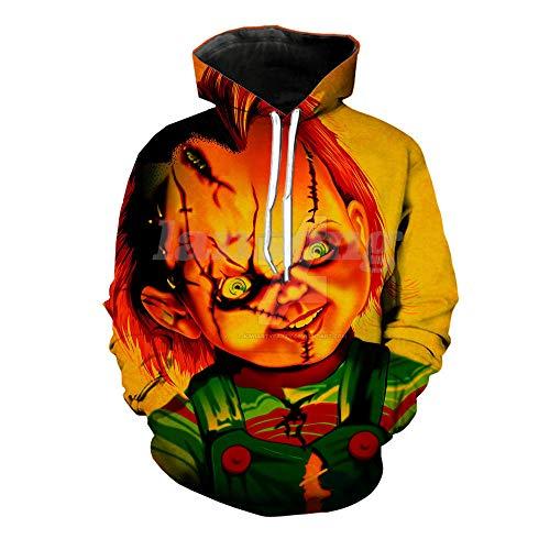 LFNBOOSE Kapuzenpullover Childs Spielen Chucky Hoody des Druckes 3D / T-Shirt/Sweatshirt/Hoodie/Hosenmodemänner Harajuku Lustiger Hoody Streetwear Hip-Hop-Pullover-Hoodies_XL