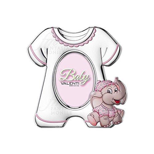 Valenti 71611/3R Bilderrahmen für Mädchen, Elefant, rosa, emailliert, silberfarben, Rückseite aus Holz, weiß