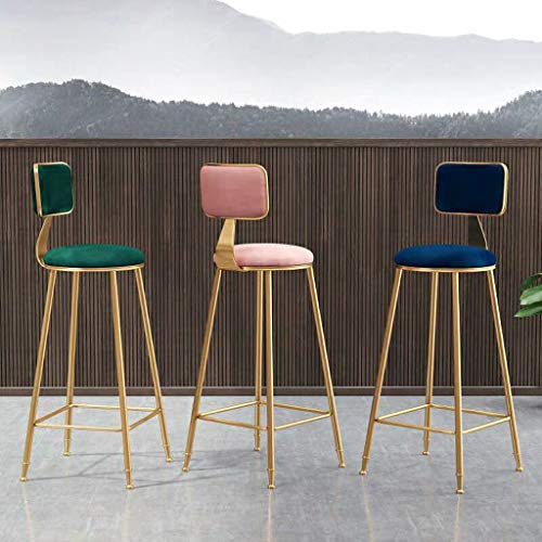 RENLEINB barstoelen, barstoelen, tafels en stoelen, eenvoudige tafels, hoge stoelen, groen en goudkleurig, fluweel