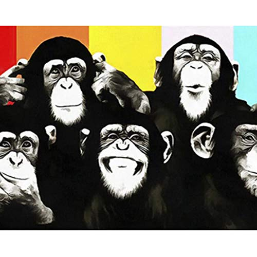 DHYYQX Pintar por Numeros Kit,Animales orangutanes Monos DIY Pintura al óleo para Adultos Niños Principiantes Fácil,Sin Marco,30x40cm