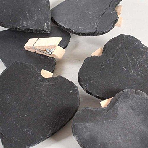 Annastore 6 x Schieferherzen mit Clip 7 cm Schieferplatten - Gastgeschenk Hochzeit – Tischkarte Hochzeit – Memotafel Landhausstil - Steinherzen