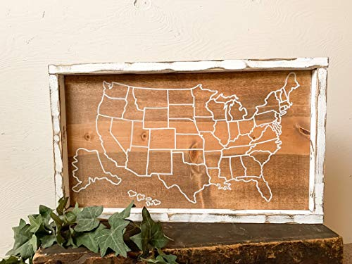 Wood Sign-USA map Outline; Fill,in USA map Sign; Color in State map; United States of America Blank map; 50 States Wood Sign; Wooden USA map; Framed, Home Wall Art, 12x22