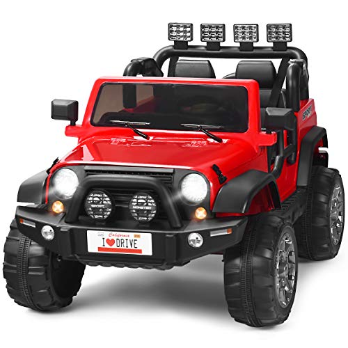 Costzon 2-Seater Ride on Truck, 12V Battery Powered Electric Vehicle Toy w/ 2.4G Remote Control, 3 Speed, LED Lights, MP3 Horn, Music, 2 Doors Open, Spring Suspension, Ride on Car for Kids (Red)