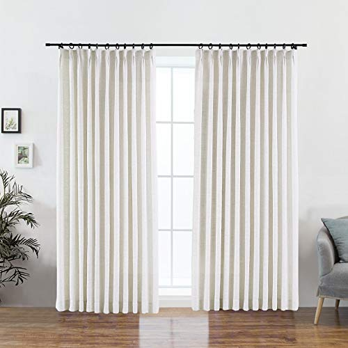 DotheDrape 52 W x 90 L inch Pinch Pleat Darkening Drapes Faux Linen Curtains with Lining Drapery Panel for Living Room Bedroom Meetingroom Club Theater Patio Door (1 Panel),Beige White