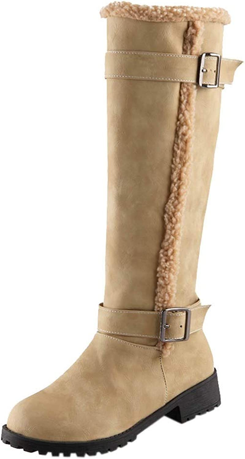 ThePass Women Winter Knee High Snow Boot Casual Mid-Calf Solid Plush Round Toe