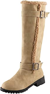 f65f8fffa2be Mysky Women Classic Simple Solid Buckle Snow Boot Ladies Comfortable Warm  Plush Knee High Boots