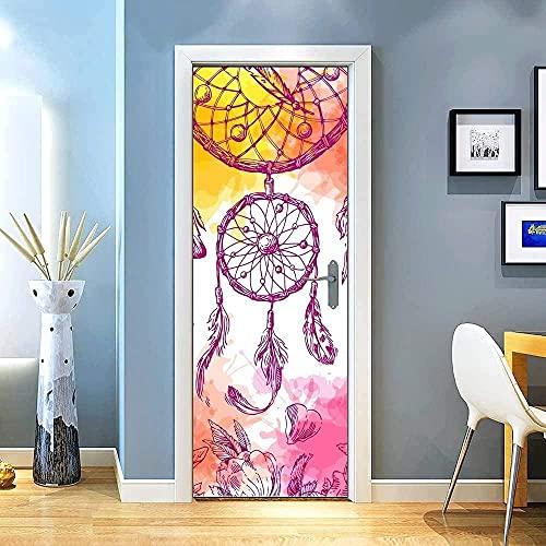 SONYUN Pegatinas de Puerta de Arte Arte de Puerta 77x200cm Dibujos Animados de Plumas de Color Pegatinas Decorativas de Puerta Autoadhesivo 3D para Puertas Mural PVC Pegatinas de Pared Foto Poster