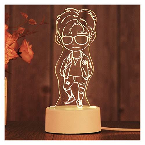 TZZD Año Nuevo Decoración Creativa 3D LED Luz de Luz de Luz Lámpara Dormitorio para niños Inicio (Color : Violet)