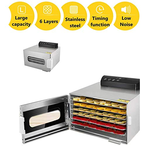 Best Deals! Food Dehydrator Machine with 6 Trays, Food Grade Stainless Steel Without Bpa, Digital Ad...
