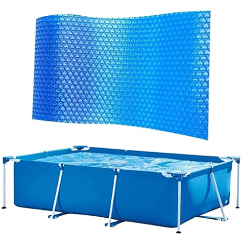 YANRU Best Pool Cover, 8.6 Ft×5.3 Ft Blue Pool Covers Solar, for Swimming Pool Keeps Out Leaves Round Pool Cover Quick Set, Pool Heater for Inground Pools
