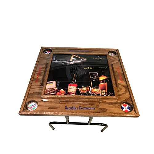 Fantastic Deal! Fiesta Domino Table with the Dominican Republic flag-dark wall nut
