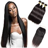 Cheveux raides brésiliens vierges 3 faisceaux avec fermeture gratuite en dentelle de partie libre 4x4 Grade 8A 100% de cheveux humains armure de fermeture soyeuse couleur naturelle (12'12' 12'+10')