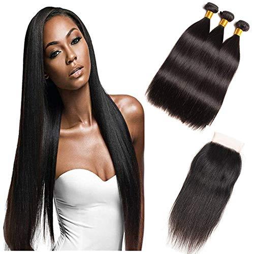 Cheveux raides brésiliens vierges 3 faisceaux avec fermeture gratuite en dentelle de partie libre 4x4 Grade 8A 100% de cheveux humains armure de fermeture soyeuse couleur naturelle (16\