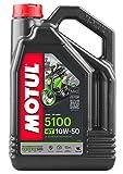 Motul 104076 5100 4T Huile pour Moto à Moteur 4 Temps 10W-50 4L