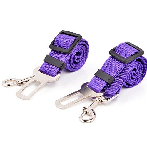 Neuftech® 2X Cane Guinzaglio Cintura di Sicurezza Auto per Cani 65cm Purple