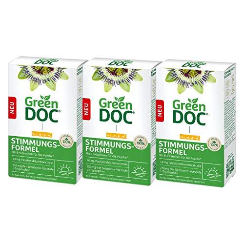 GreenDoc Stimmungsformel Kapseln, Nahrungsergänzungsmittel mit L-Tryptophan bei Stress, Nervosität und innerer Unruhe, mit B-Vitaminen und Magnesium, enthält 40 mg Passionsblumenextrakt, 3x30 Kapseln