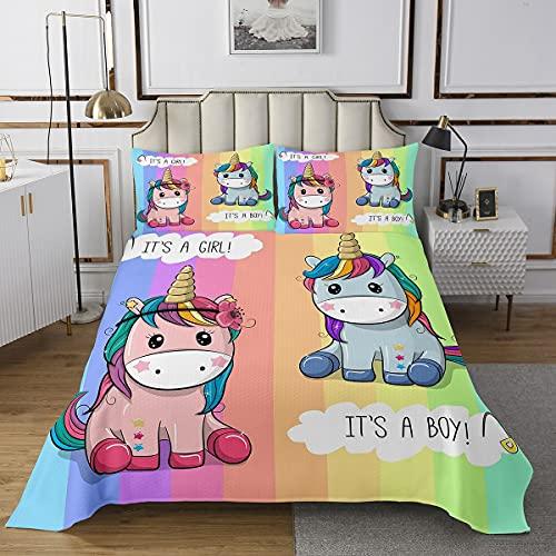 Colcha de unicornio de dibujos animados, juego de cama con estampado de rayas arcoíris para niños y adultos, juego de cama Kawaii Boy Girl Unicorn con 2 fundas de almohada, acolchado de poliéster