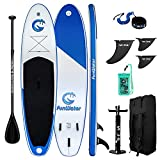 FunWater Stand Up Paddle Board 11'x33''x6'' Ultra-Light (20.4lbs) Inflatable Paddleboard with ISUP Accessories,Three Fins,Adjustable Paddle, Pump,Backpack, Leash, Waterproof Phone Bag