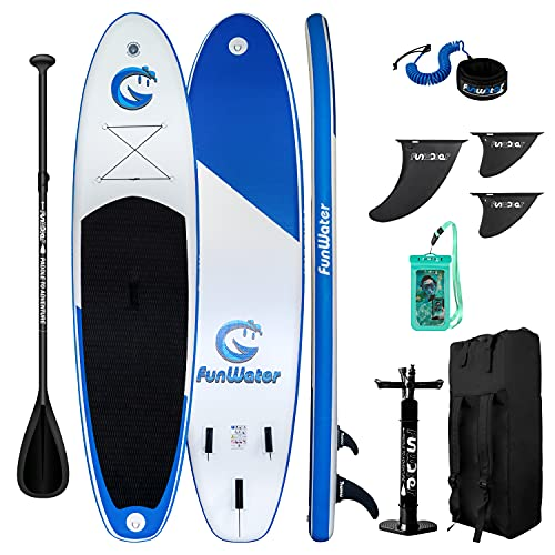 """FunWater All Round Paddle Board 11'Length 33"""" Width 6"""" Thick Inflatable Sup with Adjustable Paddle,ISUP Travel Backpack,Leash,High Pressure Pump w/Gauge and Water Proof Phone Case"""