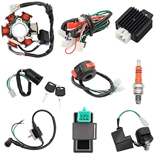 Quad Wire Harness Complete Electrics Stator Coil CDI Wiring Harness Solenoid Relay Spark Plug for 4 Wheelers Stroke ATV 50cc 70cc 90cc 110cc 125cc Pit Quad Dirt Buggy Bike Go Kart Parts