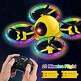 Mnjin Mini Drone de Larga duración para niños con luz Parpadeante One Key Take Off Spin Flips Crash Proof RC Nano Quadcopter Juguetes Drones para Principiantes Niños y niñas, Batería Adicional