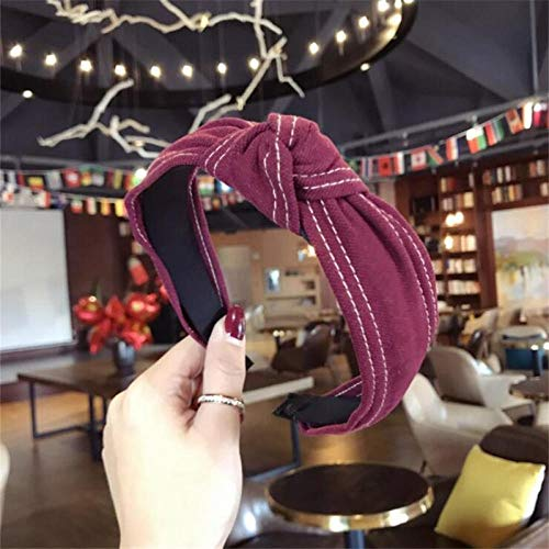 TOORY mural Corea Boutique Diadema Tela Vaquera Anudada Diadema Mujeres niñas Pelo Bandas para la Cabeza Accesorios para Mujeres Diadema Scrunchy-Vino Rojo
